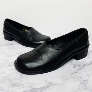 J. Jill | Black Leather Heeled Brazil Loafer
